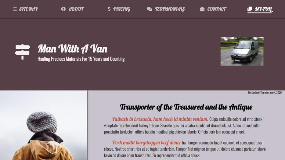 Man With A Van - Full Page Site